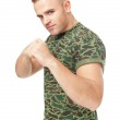 Young army soldier in fighting stance — Stock Photo #35182879