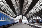 Railway station with trains — Stok fotoğraf