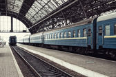 Railway station with train — Stock Photo
