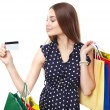 Happy shopping woman with credit  — Stock Photo #42786217