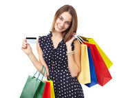 Happy shopping woman with credit  — Stock Photo