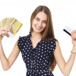 Woman with money and credit card — Stock Photo