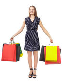 Woman with colorful shopping bags — Stok fotoğraf
