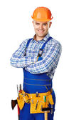 Portrait of happy young construction worker — Foto Stock