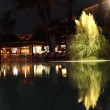 Stock Video: Luxurious brightly lit hotel pool at night