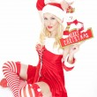 Sexy blonde Christmas girl with Christmas decoration — Stock Photo #17687267