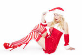 Sexy blonde Christmas girl — Stock Photo