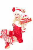 Sexy blonde Christmas girl with Christmas decoration — Stock Photo