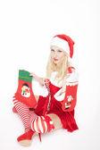 Ragazza sexy di natale con le calze di natale — Foto Stock