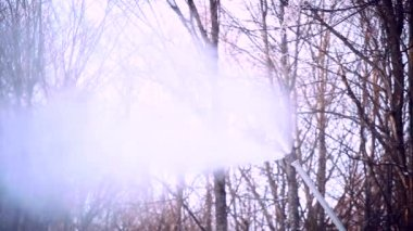 Snowmaking with a snow cannon - closeup — Stock Video