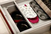 Kitchen drawer with compartments — Stock Photo