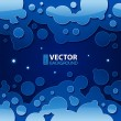 Abstract dark blue night background with round bubbles and stars — Stock Vector