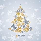 Christmas snowflakes tree — Stock Vector