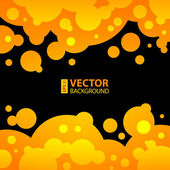 Abstract balck, orange and yellow background with round bubbles. — Stock Vector
