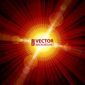 Red color burst of light with lens flare — Stock Vector