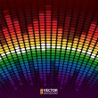 Stock Vector: Rainbow warped digital equalizer vector background