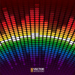 Rainbow warped digital equalizer vector background — Stock Vector #30490177