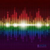 Rainbow shining digital equalizer vector background with flares — Stock Vector