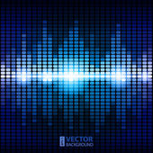 Shining blue digital equalizer background with flares. — Stock Vector