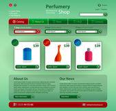 Modern Web 2.0 website perfumery shop. — Stock Vector