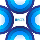 Abstract blue paper circles background. — Vector de stock