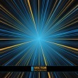 Abstract blue and yellow striped star burst background. — Imagens vectoriais em stock