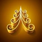 Shining golden 3d christmas tree — Stock Photo