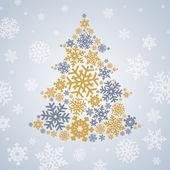 Kerstmis zilver en goud sneeuwvlokken boom op grijze achtergrond — Stockfoto