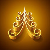 Shining golden 3d christmas tree — Stock Photo
