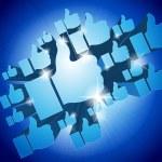 """Shining 3d """"Like"""" symbols on blue background — Stock Photo #38930485"""