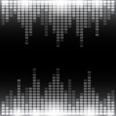 Grayscale digital equalizer background with flares — Stock Photo