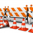 Stock Photo: Under construction! with traffic cones
