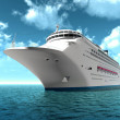 Luxury oceanic cruising liner on blue sewaves — Stock Photo #12456773