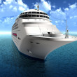 Luxury oceanic cruising liner on blue sewaves — Stock Photo #12456795