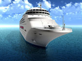 The luxury oceanic cruising liner on blue sea waves — Stock Photo