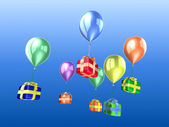 Dárky a balóny — Stock fotografie