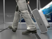 :Business man at the airport — Stockfoto
