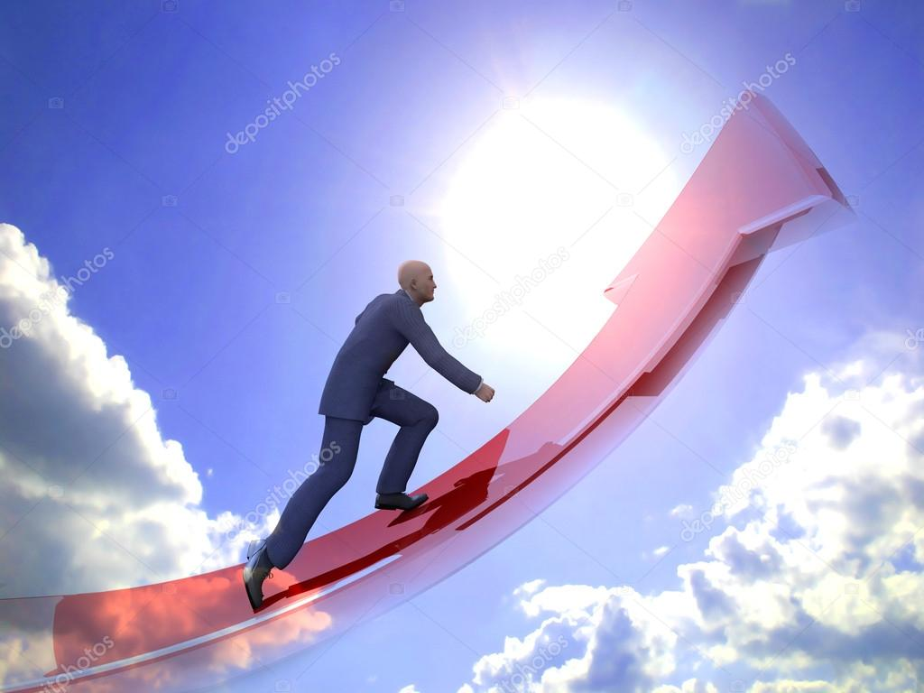 Businessman towards arrow pointing up direction overcome of economy recession concept 3d illustration  — Stock Photo #12451282