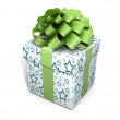 Single gift box with ribbon on white background - Stock Photo