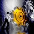 Businessman Turning a Gear — Foto Stock