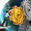 Businessman Turning a Gear — Stock Photo