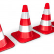 The 3d traffic cones isolated over white — Stock Photo