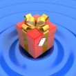 Stock Photo: Red gift on a blue background