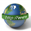 Stock Photo: 3d illustration of earth globe with internet address, over white background