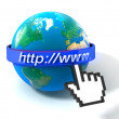 Royalty-Free Stock Photo: 3d illustration of earth globe with internet address, over white background