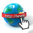 3d illustration of earth globe with internet address, over white background — Stock Photo