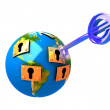 3d illustration of key and planet — Stock Photo