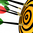 Dart hitting the target — Stock Photo #13308669