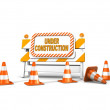 Under construction! with traffic cones - Stockfoto