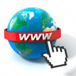 3d illustration of earth globe with internet address, over white background — Stockfoto